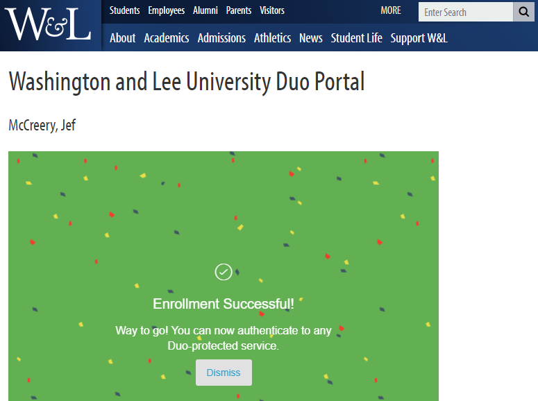 Duo Multi-Factor Authentication Enrollment : Washington and