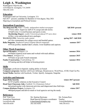 Help With Resumes and Cover Letters : Washington and Lee ...