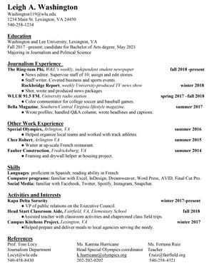 Resume For Broadcasting Internship