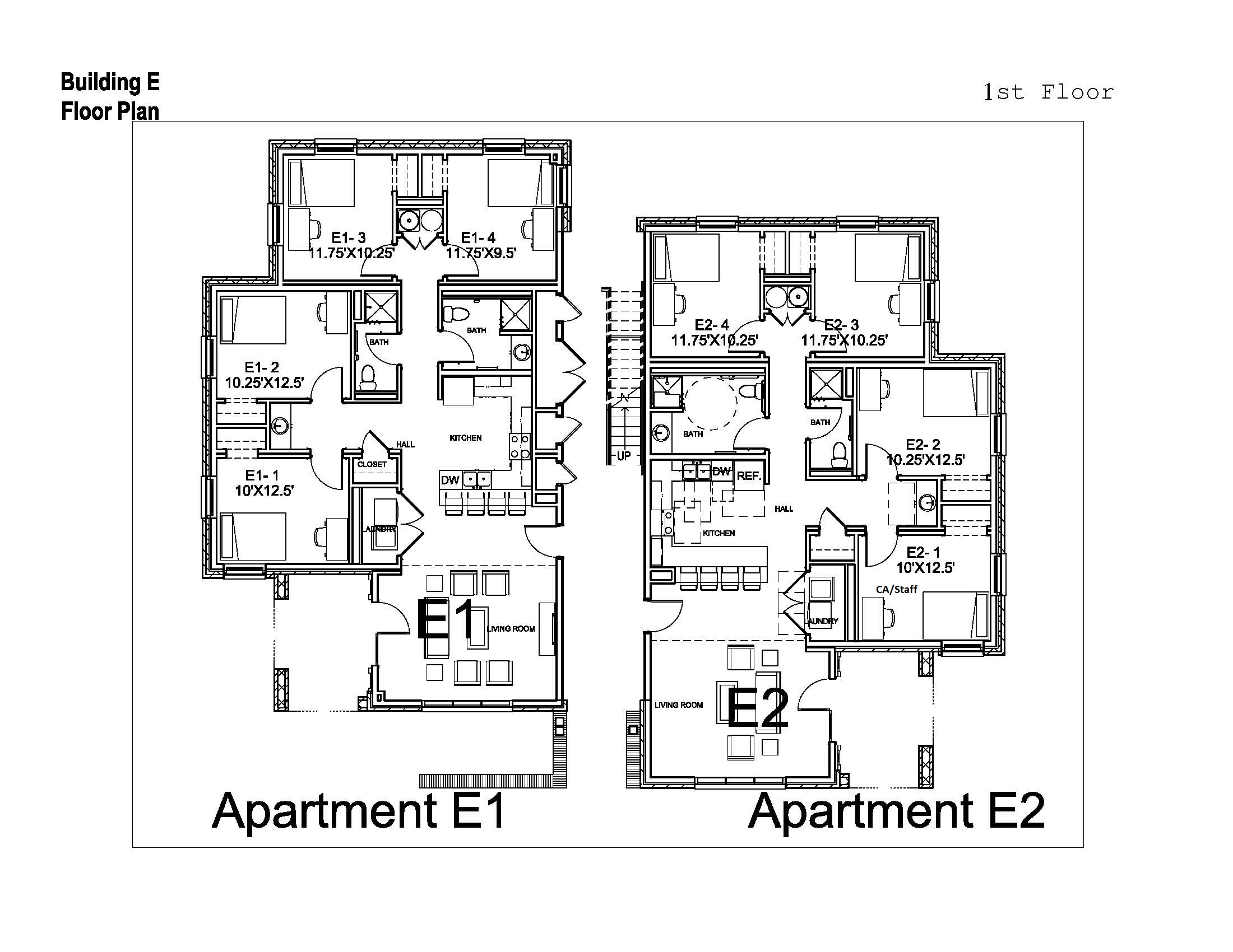 Village apartments washington and lee university for Apartments floor plans