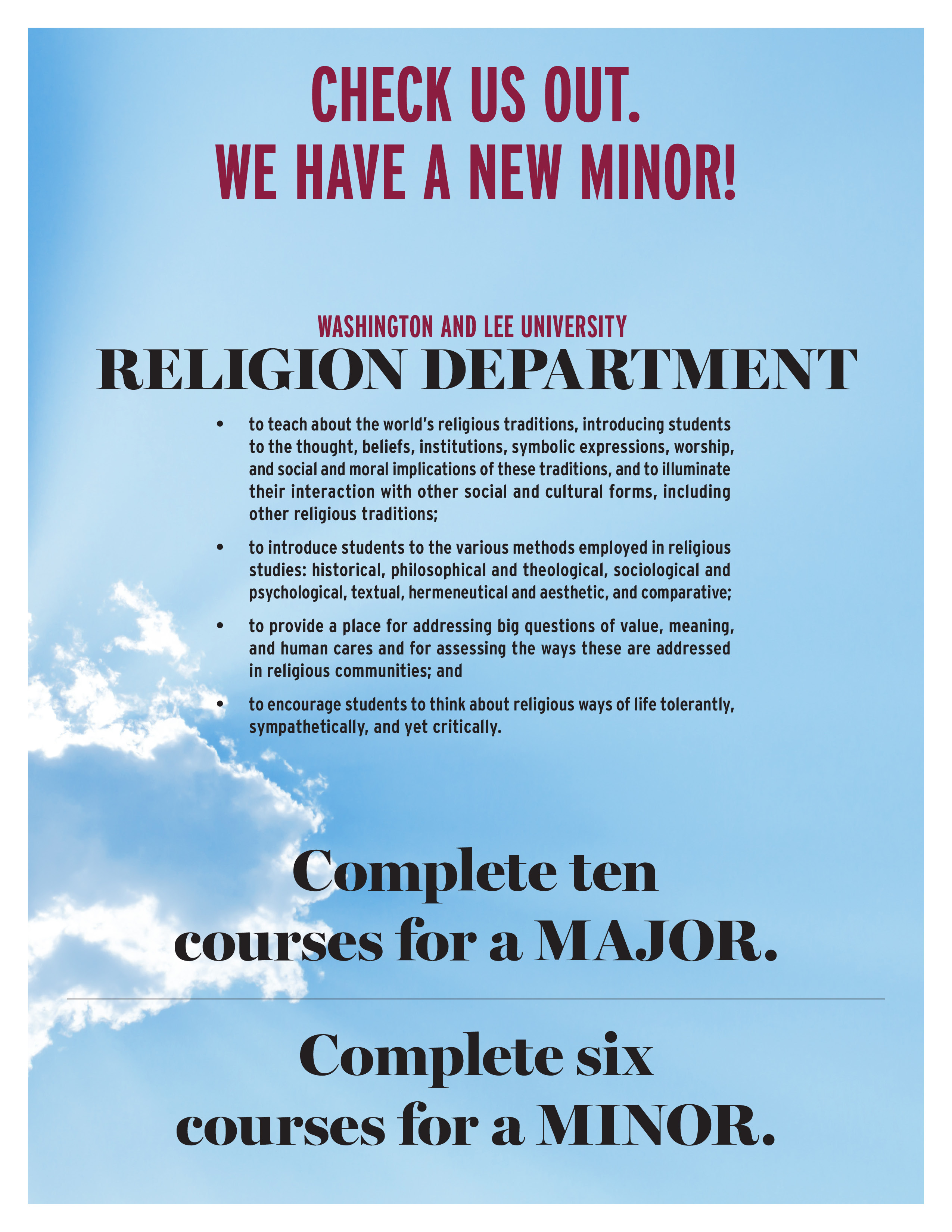 religion minor flyer - described in page content
