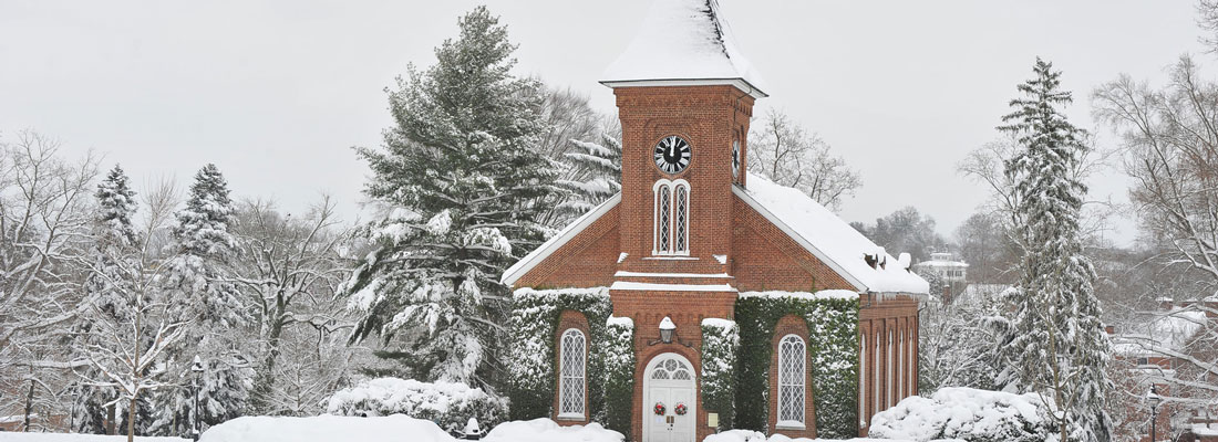 Lee Chapel in the snow